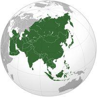 Lage Asiens auf einer Weltkarte