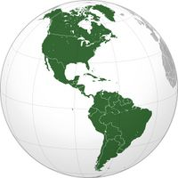Lage des Amerikanischen Kontinents auf einer Weltkarte